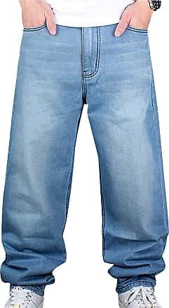 junkai Men Hip Hop Jeans Hipster Style Baggy Jeans Rap Denim Urban Skate Jeans Straight Leg Loose Fit for Teenage Boys Light Blue 44