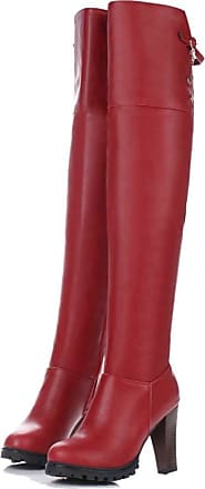 Generic Women High Heel Boots Round Toe Leather Long Tube Shoes Winter Anti Slip Ladies Zip Over The Knee Boot Red