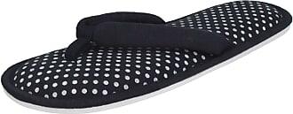 Spot On Ladies Toepost Slippers - Navy Textile - UK Size 3/4 - EU Size 36/37 - US Size 5/6