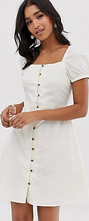 Warehouse linen dress with puff sleeves in cream-Orange