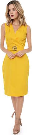Lança Perfume Vestido Lança Perfume Midi Acinturado Amarelo