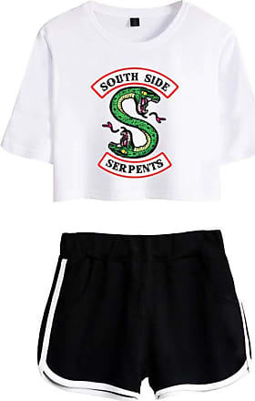 OLIPHEE Inspired Riverdale Jughead Jones Athleisure Tracksuits Crop Top T-Shirts and Shorts Southside Serpents Printed Suit for Women DIY White-2 Black 2XL