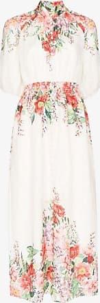 Zimmermann Womens White Floral Print Shirred Maxi Dress