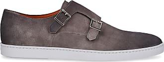 Santoni Monk Shoes 155506 suede grey