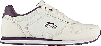 Slazenger Womens Classic Trainers Lace Up Padded Tongue Comfortable Fit Everyday White/Purple UK 6.5 (39.5)