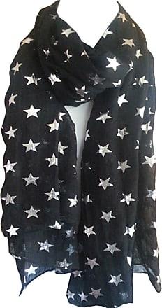 GlamLondon Star Scarf Glitter STARS Silver Foil Print Fashion Ladies Womens Classy Party Wrap (Black)