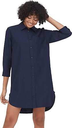 LilySilk Silk Cotton Shirtdress for Women Long Sleeve Casual Long Plus Size Buttons Front Work for Ladies Longer Back Navy Blue XXL