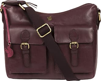 Pure Luxuries London Conkca London Nancie Womens 29cm Biodegradable Leather Shoulder Bag with Zip Over Top, 100% Cotton Lining and Adjustable Webbed Canvas Strap in Plum B