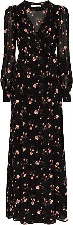 Reformation Vestido envelope Shanti com estampa floral - Preto