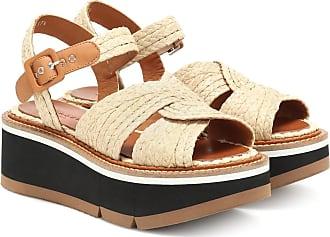 Robert Clergerie Aqua raffia platform sandals