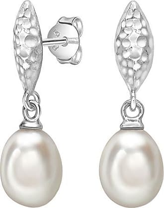 Dower & Hall Hammered Marquise & White Freshwater Pearl Drop Earrings