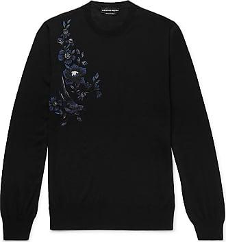 Alexander McQueen Slim-fit Embroidered Wool Sweater - Black