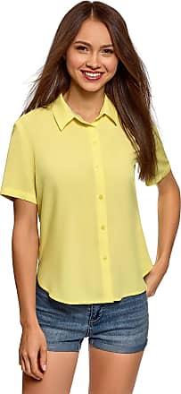 oodji Womens Short Sleeve Viscose Blouse, Yellow, UK 14 / EU 44 / XL