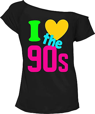 21Fashion Ladies I Love The 90s T Shirt Pop Disco Party Retro Off Shoulder Shirt Womens Night Out Party Tee Top Black Medium/Large UK 12-14