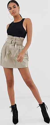 4th & Reckless paperbag PU buckle skirt in mocha-Beige