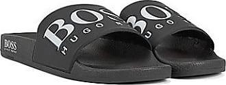 BOSS In Italien gefertigte Slides aus Gummi mit kontrastfarbenem Logo