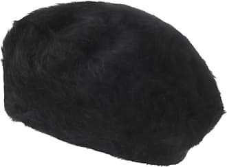 Ililily Solid Color Angora French Beret Furry Artist Flat Winter Hat, Black Without Tab