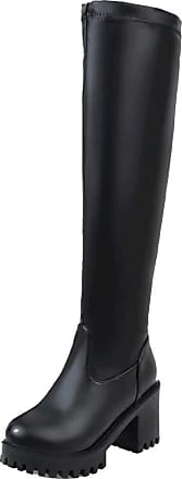 RAZAMAZA Women Elegant High Heels Knee High Boots Block Heels Long Boots Platform Winter Shoes Pull On Black Size 41 Asian