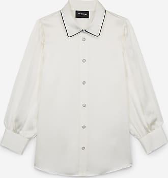 The Kooples Ecru long silk shirt with black piping - WOMEN
