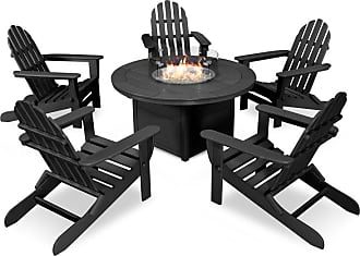 POLYWOOD Outdoor POLYWOOD Classic Folding Adirondack 6 Piece Conversation Set with Fire Pit Table Slate Grey - PWS414-1-GY