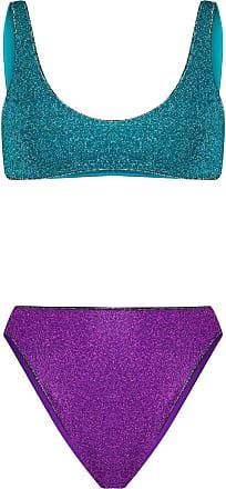 Oséree Biquíni Sporty cintura alta com brilho - Azul