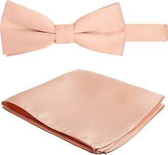 Jacob Alexander Solid Color Mens Bowtie and Hanky Set - Peach