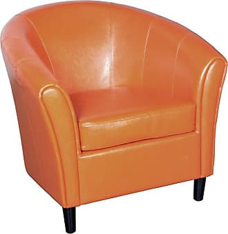 BEST SELLING HOME Napoli Orange Leather Club Chair - 213807
