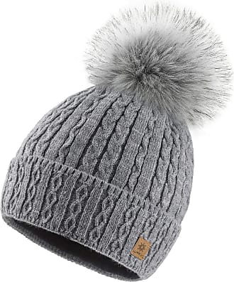 4sold Ladies Chunky Soft Cable Knit Handmade Woman Hat Cosy Fleece Liner and Bobble Faux Fur Pom pom (MIA Grey)