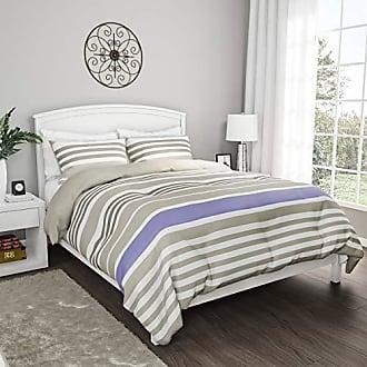 Trademark 3-Piece Comforter and Sham Set - Seaside Lavender Reversible, Hypoallergenic, Soft, Microfiber Striped Down Alternative Bedding by LHC (King)