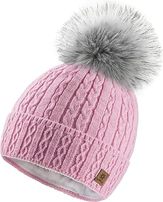 4sold Ladies Chunky Soft Cable Knit Handmade Woman Hat Cosy Fleece Liner and Bobble Faux Fur Pom pom (MIA Pink)