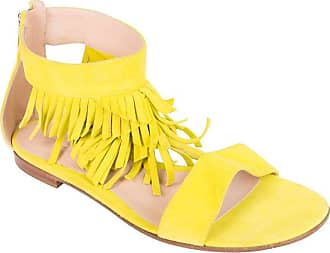 0a3d101d9f4d34 Gianvito Rossi Neon Yellow Suede T-strap Fringe Sandals