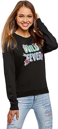 oodji Womens Printed Cotton Sweatshirt, Black, UK 4 / EU 34 / XXS