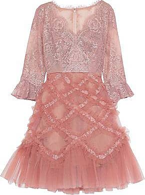 1fde57ca Marchesa Marchesa Notte Woman Flared Chantilly Lace And Ruffled Tulle Dress  Blush Size 6