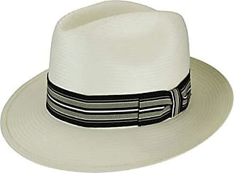 f6704fae Bailey Mens Creel Straw Fedora Trilby Hat with Striped Band, Natural/Black  Taupe,