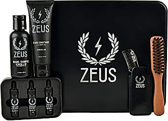 Zeus Zeus Goatee Care Set (Verbena Lime)- Beard Shampoo and Conditioner, Beard Oil Coffret, Natural Horn Mustache Comb, and Beard Brush