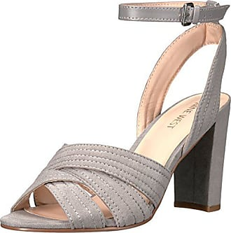 Nine West Womens Niaria Leather Dress Sandal, Grey, 10 M US