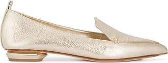Nicholas Kirkwood Fashion Woman 902A11VBT3K10 Gold Leather Loafers | Spring Summer 20