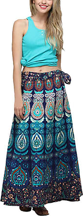 JERFER Women Casual Multicolor Feather Print Skirt Loose Boho Long Bohemian Beach Skirt Autumn Skirt Fall Skirt for Women Blue