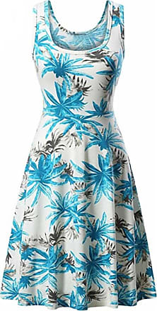 FNKDOR Women Sleeveless Printing Summer Birthday Party Charming Suit Friends Gifts Beach A Line Casual Overalls Shift Dress Floral Dress Layered Skirt (UK-16