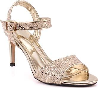 Unze Unze Women LAVINIA Ankle Strap Wedding Sequenced Open Toe Evening Stiletto Formal Heel Sandals UK Size 3-8 - 326-23