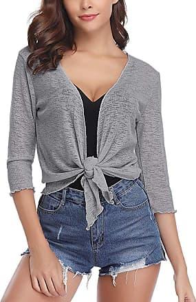 Abollria Womens Shrugs Sheer 3/4 Sleeve Tie Knot Open Front Bolero Cardigan Jacket Grey