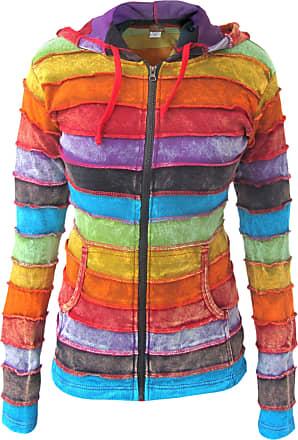 Gheri Ladies Cotton Rainbow Striped Handmade Pixie Pointed Hoodie Funky Jacket Rainbow Stone Washed 12