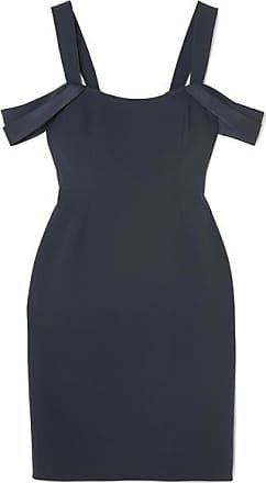 39900dd4 Halston Heritage Cold-shoulder Satin-trimmed Crepe Mini Dress - Navy