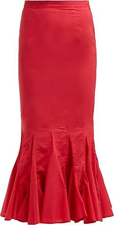 Rhode Resort Rhode - Sienna Fishtail Cotton Midi Skirt - Womens - Red