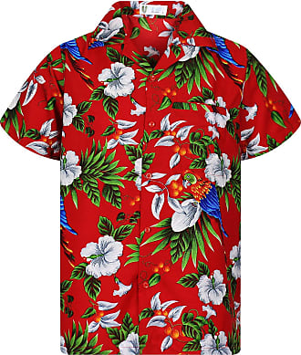 V.H.O. Funky Hawaiian Shirt Mens Short-Sleeved Front Pocket Hawaiian Print Cherry Blossom Parrot Leaves Summer - Red - XXXX-Large