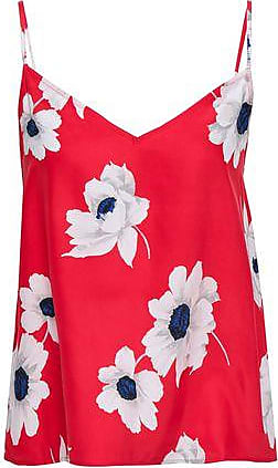 Equipment Equipment Woman Layla Floral-print Washed-silk Camisole Red Size M