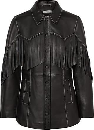 Ganni Fringed Textured-leather Jacket - Black