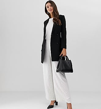 Y.A.S. Tall Liva pinstripe wide leg co-ord trousers-White