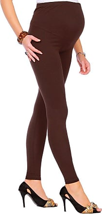 FUTURO FASHION Maternity Leggings Full Ankle Very Warm Thick Heavy Cotton Leggings (Fleece Inside) 8-22 UK Brown
