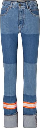 CALVIN KLEIN 205W39NYC Appliquéd Two-tone High-rise Straight-leg Jeans - Blue